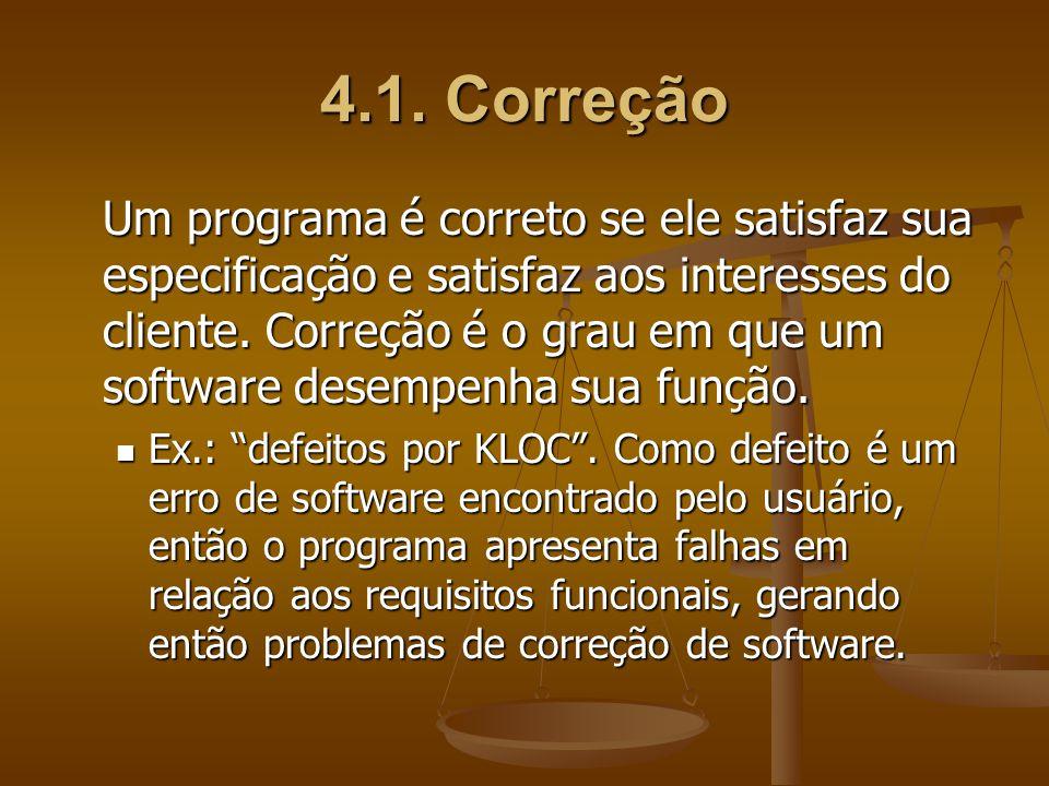 4.1. Correção Um programa é correto se ele satisfaz sua especificação e satisfaz aos interesses do cliente. Correção é o grau em que um software desem