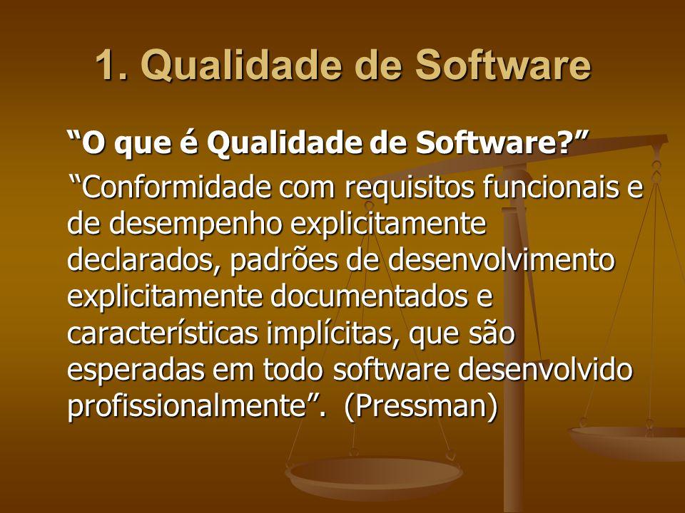 1. Qualidade de Software O que é Qualidade de Software? Conformidade com requisitos funcionais e de desempenho explicitamente declarados, padrões de d