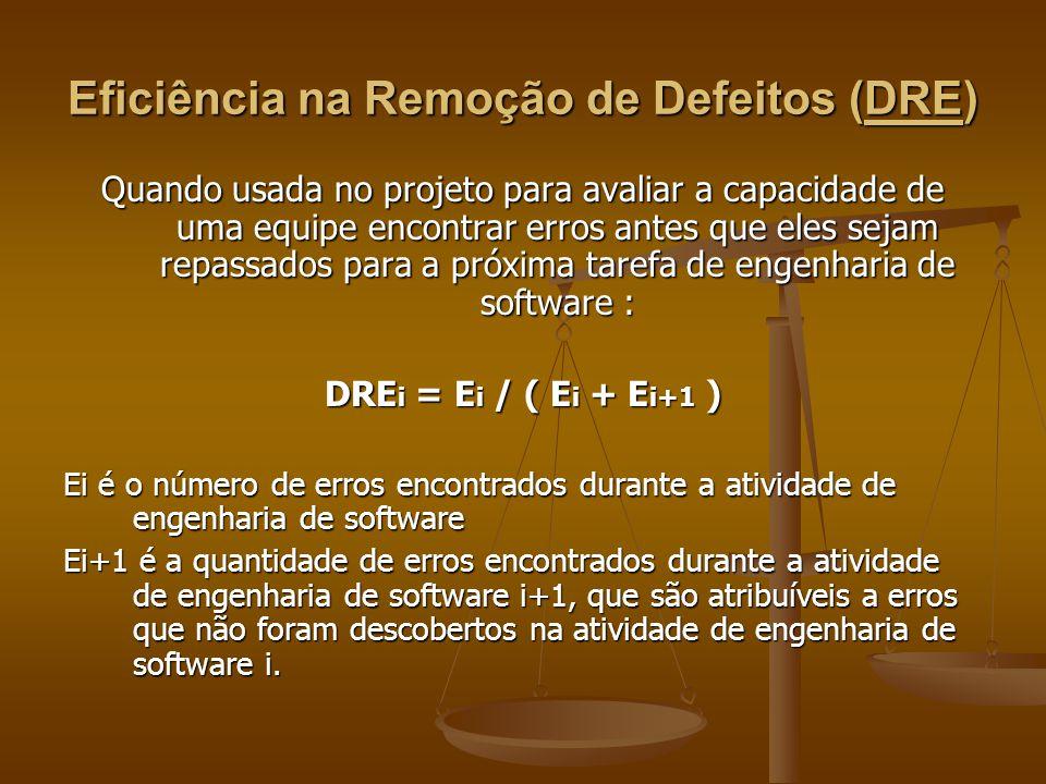 Eficiência na Remoção de Defeitos (DRE) Quando usada no projeto para avaliar a capacidade de uma equipe encontrar erros antes que eles sejam repassado