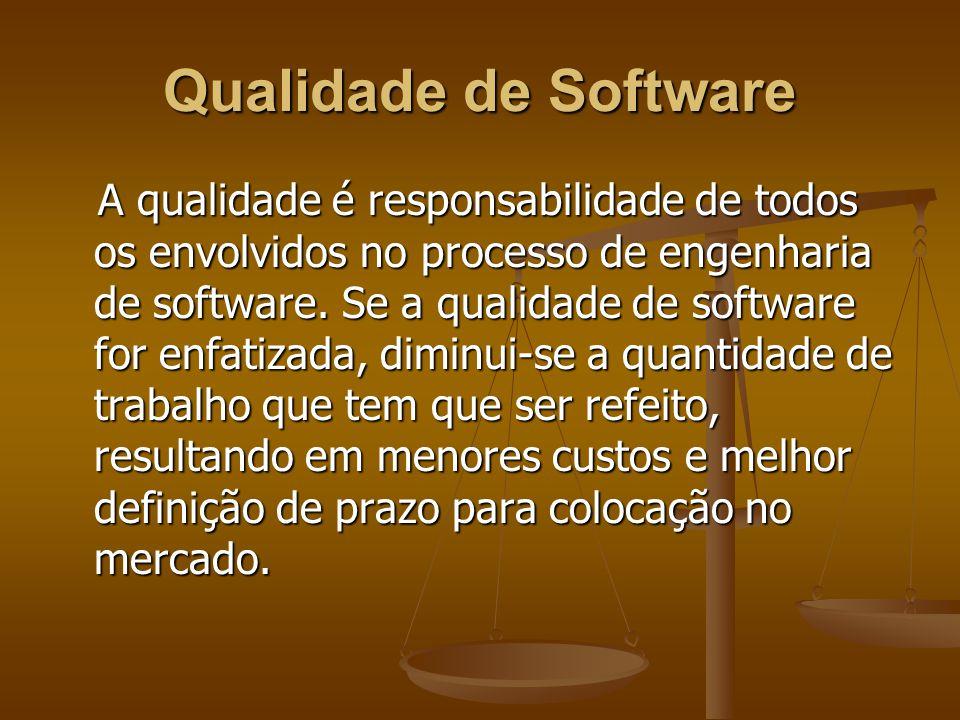 Qualidade de Software A qualidade é responsabilidade de todos os envolvidos no processo de engenharia de software. Se a qualidade de software for enfa