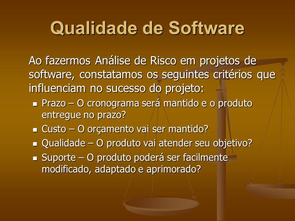 Qualidade de Software Para haver uma avaliação contínua da qualidade do software durante todas as etapas de desenvolvimento, devemos estabelecer métricas.