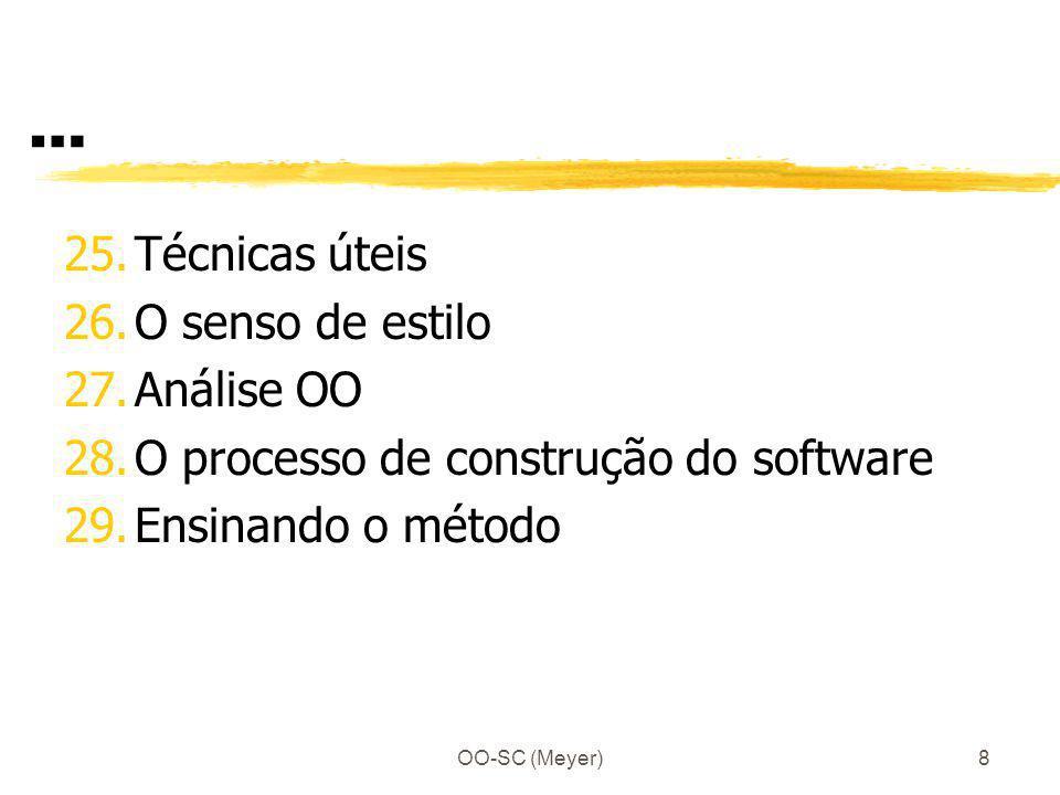 OO-SC (Meyer)9 … E – Tópicos avançados 30.Concorrência, distribuição, cliente- servidor e a Internet 31.Persistência de Objetos e banco de dados 32.Algumas técnicas OO para aplicações gráficas interativas