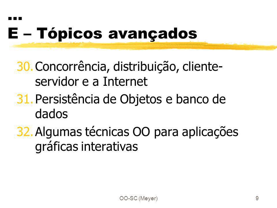 OO-SC (Meyer)9 … E – Tópicos avançados 30.Concorrência, distribuição, cliente- servidor e a Internet 31.Persistência de Objetos e banco de dados 32.Al