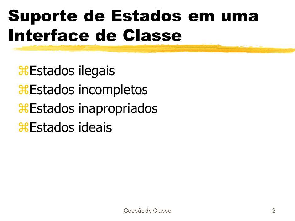 Coesão de Classe2 Suporte de Estados em uma Interface de Classe zEstados ilegais zEstados incompletos zEstados inapropriados zEstados ideais