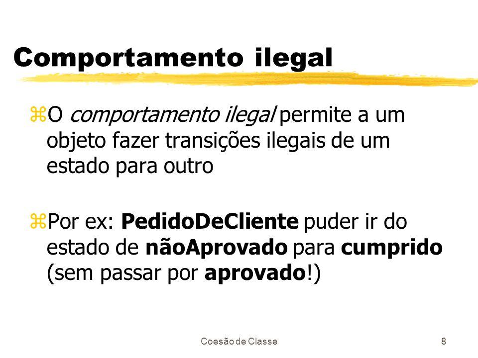 Coesão de Classe8 Comportamento ilegal zO comportamento ilegal permite a um objeto fazer transições ilegais de um estado para outro zPor ex: PedidoDeC