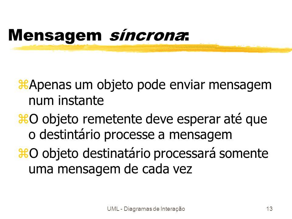UML - Diagramas de Interação13 Mensagem síncrona: zApenas um objeto pode enviar mensagem num instante zO objeto remetente deve esperar até que o desti