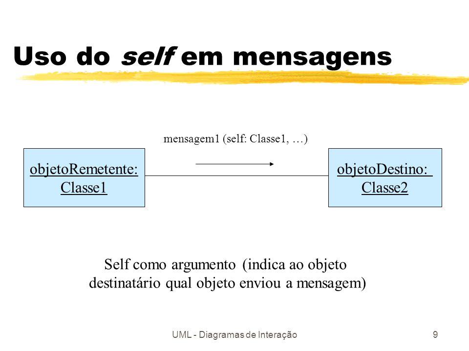 UML - Diagramas de Interação9 Uso do self em mensagens objetoRemetente: Classe1 objetoDestino: Classe2 mensagem1 (self: Classe1, …) Self como argument