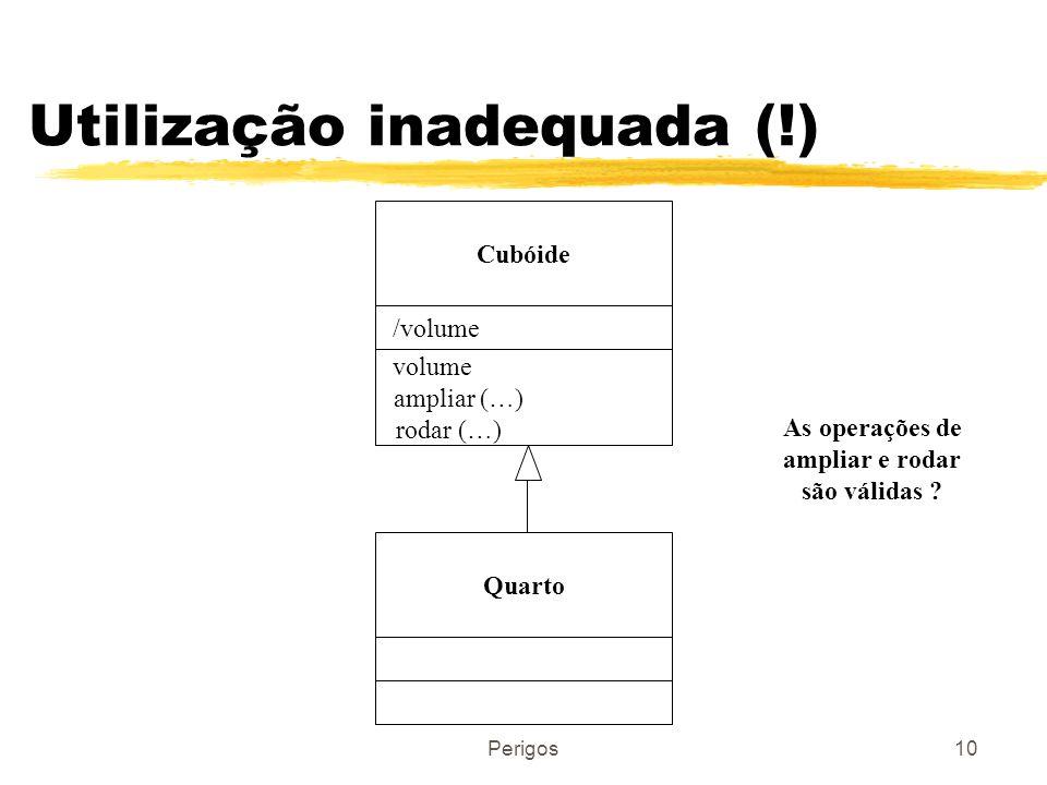 Perigos10 Utilização inadequada (!) Cubóide /volume volume ampliar (…) rodar (…) Quarto As operações de ampliar e rodar são válidas ?