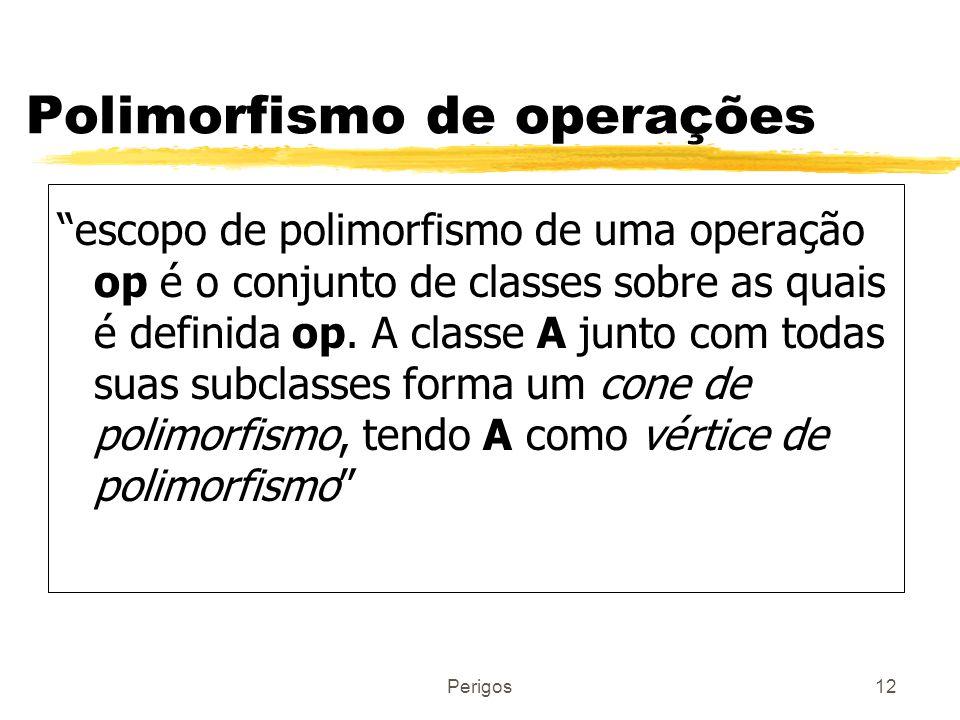 Perigos12 Polimorfismo de operações escopo de polimorfismo de uma operação op é o conjunto de classes sobre as quais é definida op. A classe A junto c