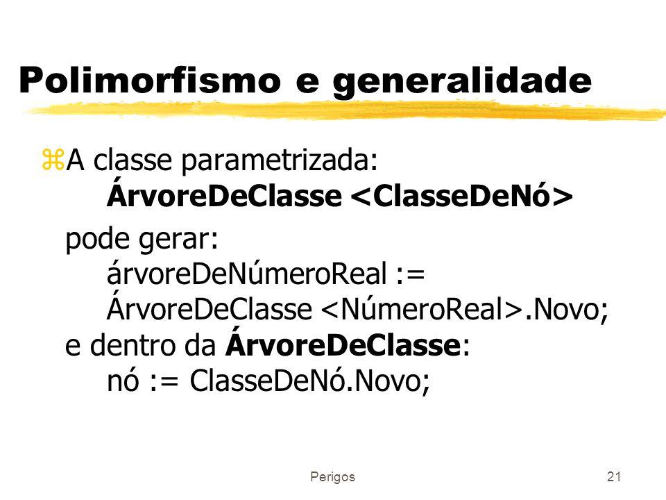 Perigos21 Polimorfismo e generalidade zA classe parametrizada: ÁrvoreDeClasse pode gerar: árvoreDeNúmeroReal := ÁrvoreDeClasse.Novo; e dentro da Árvor