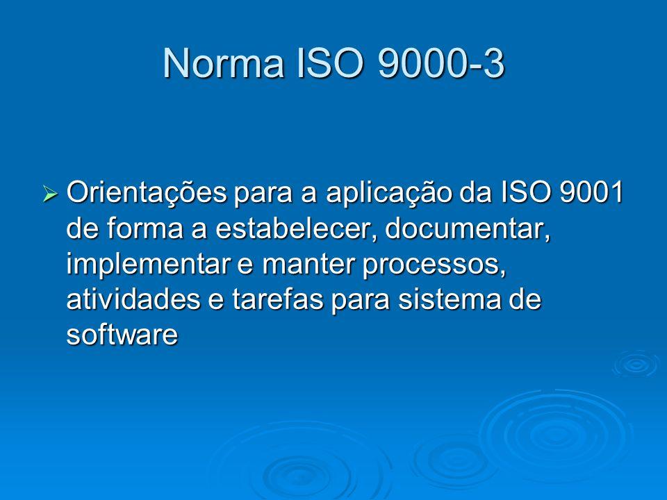 Norma ISO 9000-3 Orientações para a aplicação da ISO 9001 de forma a estabelecer, documentar, implementar e manter processos, atividades e tarefas par