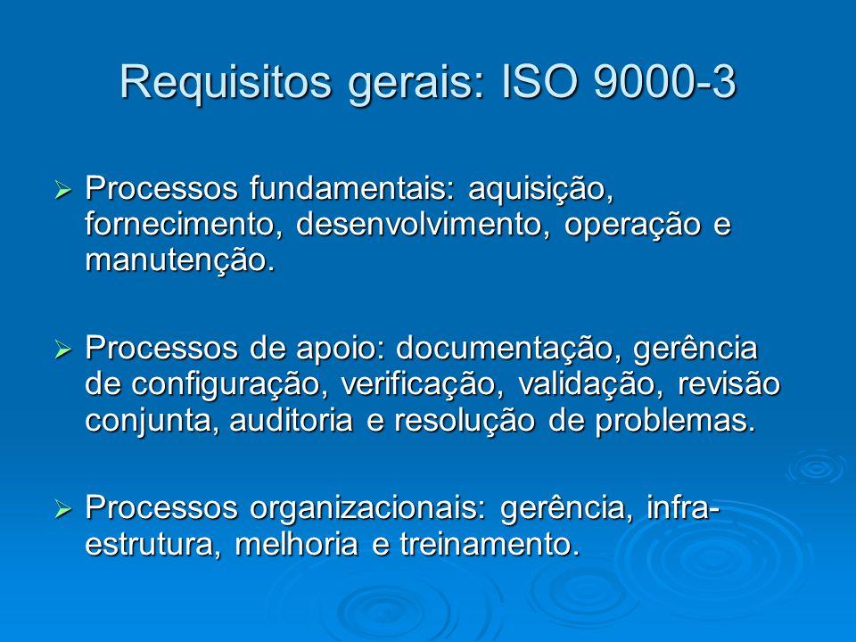 Requisitos gerais: ISO 9000-3 Processos fundamentais: aquisição, fornecimento, desenvolvimento, operação e manutenção. Processos fundamentais: aquisiç