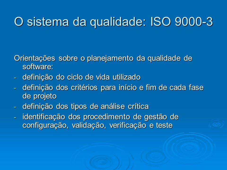 O sistema da qualidade: ISO 9000-3 Orientações sobre o planejamento da qualidade de software: - definição do ciclo de vida utilizado - definição dos c