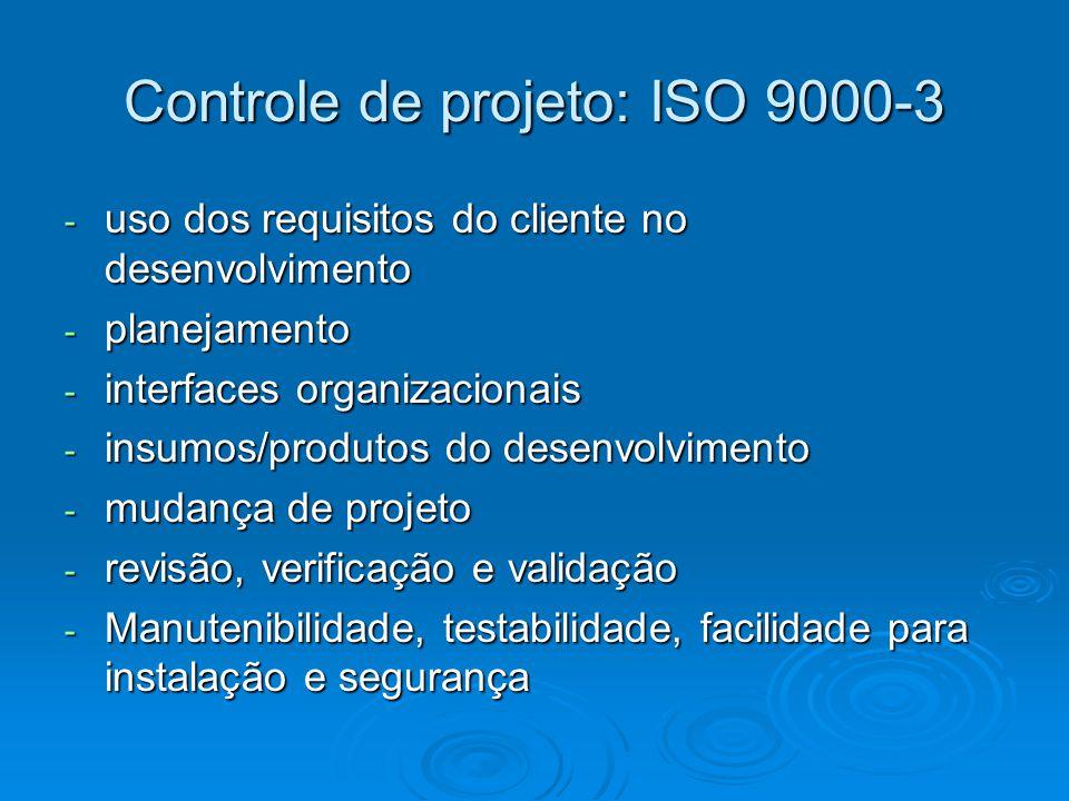 Controle de projeto: ISO 9000-3 - uso dos requisitos do cliente no desenvolvimento - planejamento - interfaces organizacionais - insumos/produtos do d