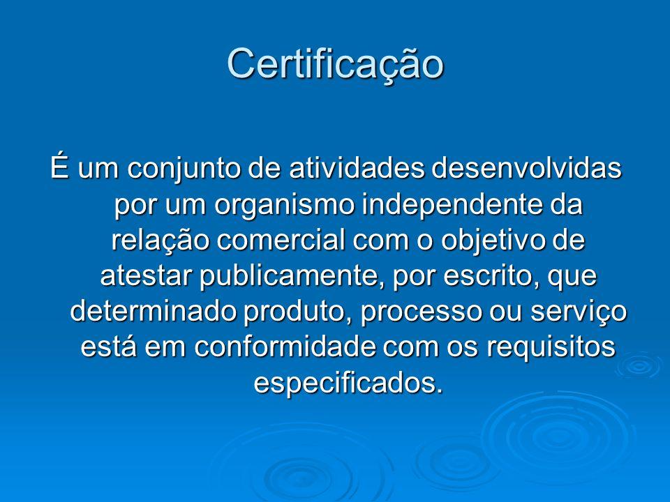 Certificação É um conjunto de atividades desenvolvidas por um organismo independente da relação comercial com o objetivo de atestar publicamente, por