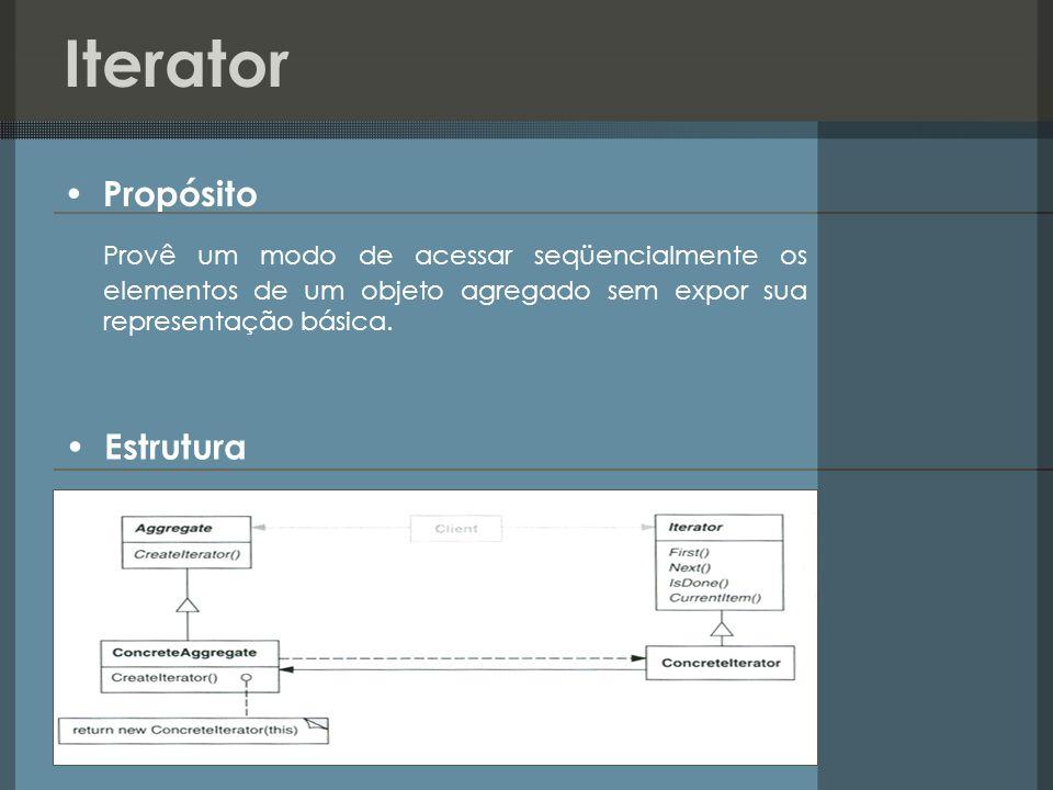 Iterator Propósito Provê um modo de acessar seqüencialmente os elementos de um objeto agregado sem expor sua representação básica. Estrutura