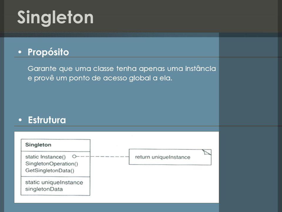 Singleton Estrutura Propósito Garante que uma classe tenha apenas uma instância e provê um ponto de acesso global a ela.