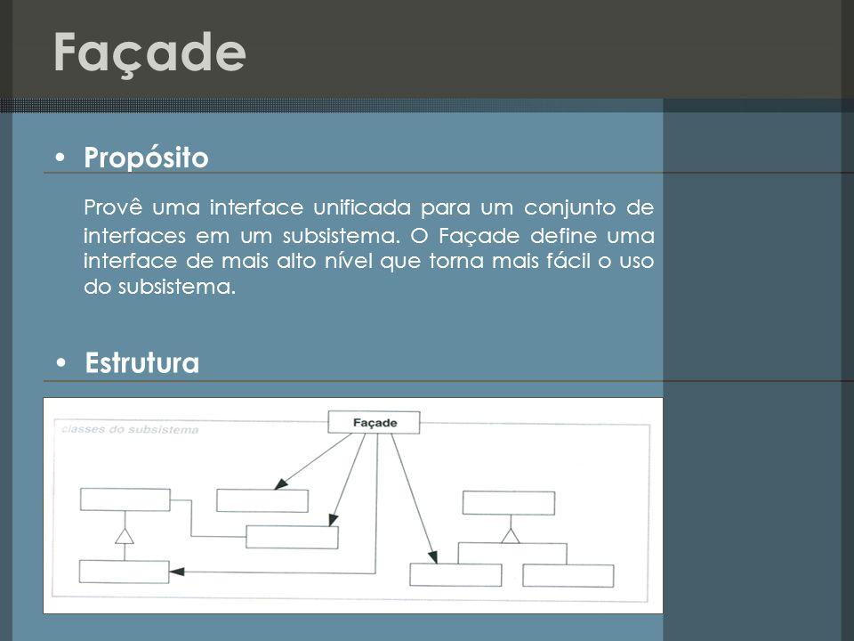 Façade Propósito Provê uma interface unificada para um conjunto de interfaces em um subsistema. O Façade define uma interface de mais alto nível que t