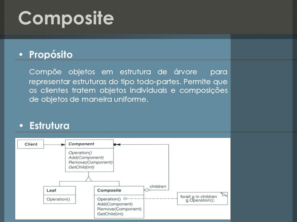 Composite Propósito Compõe objetos em estrutura de árvore para representar estruturas do tipo todo-partes. Permite que os clientes tratem objetos indi
