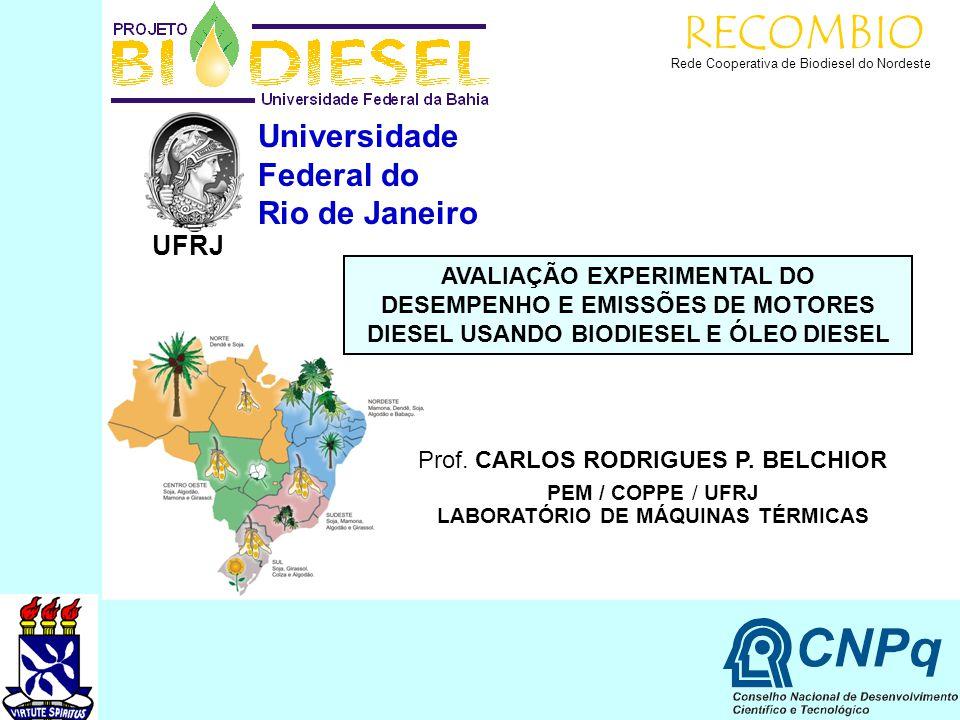 RECOMBIO Rede Cooperativa de Biodiesel do Nordeste Universidade Federal do Rio de Janeiro UFRJ AVALIAÇÃO EXPERIMENTAL DO DESEMPENHO E EMISSÕES DE MOTO