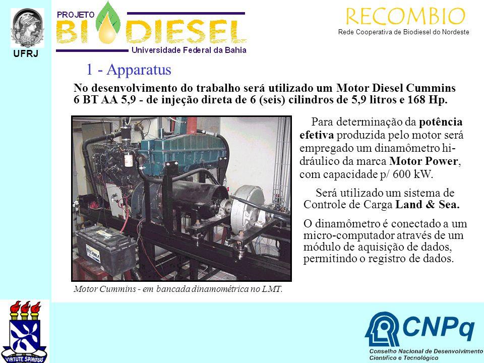 RECOMBIO Rede Cooperativa de Biodiesel do Nordeste 1 - Apparatus No desenvolvimento do trabalho será utilizado um Motor Diesel Cummins 6 BT AA 5,9 - d