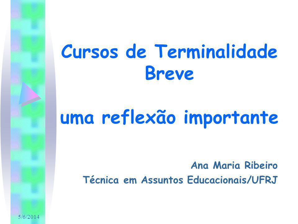 5/6/2014 Cursos de Terminalidade Breve uma reflexão importante Ana Maria Ribeiro Técnica em Assuntos Educacionais/UFRJ