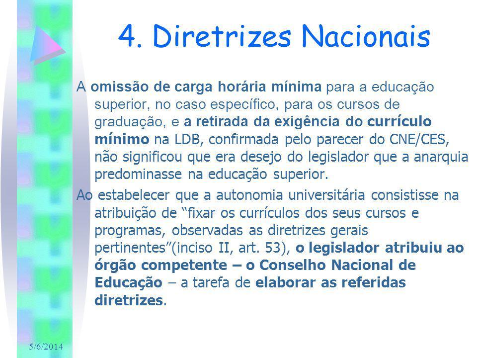 5/6/2014 4. Diretrizes Nacionais A omissão de carga horária mínima para a educação superior, no caso específico, para os cursos de graduação, e a reti