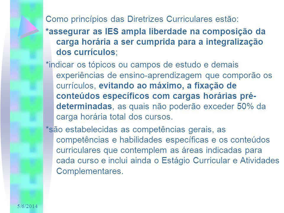 5/6/2014 Como princípios das Diretrizes Curriculares estão: *assegurar as IES ampla liberdade na composição da carga horária a ser cumprida para a int