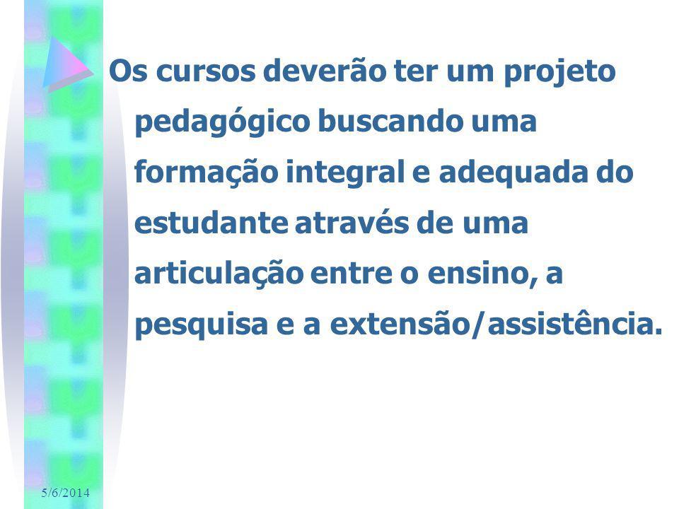 5/6/2014 Os cursos deverão ter um projeto pedagógico buscando uma formação integral e adequada do estudante através de uma articulação entre o ensino, a pesquisa e a extensão/assistência.