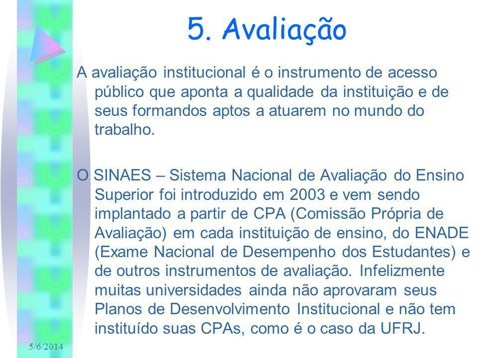 5/6/2014 5. Avaliação A avaliação institucional é o instrumento de acesso público que aponta a qualidade da instituição e de seus formandos aptos a at