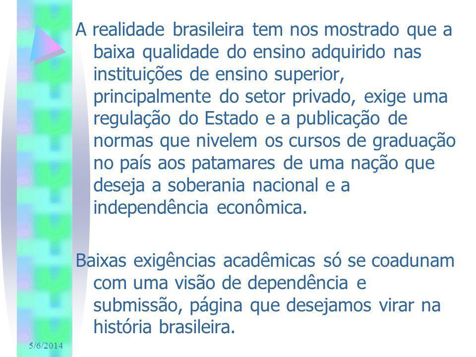 5/6/2014 A realidade brasileira tem nos mostrado que a baixa qualidade do ensino adquirido nas instituições de ensino superior, principalmente do seto