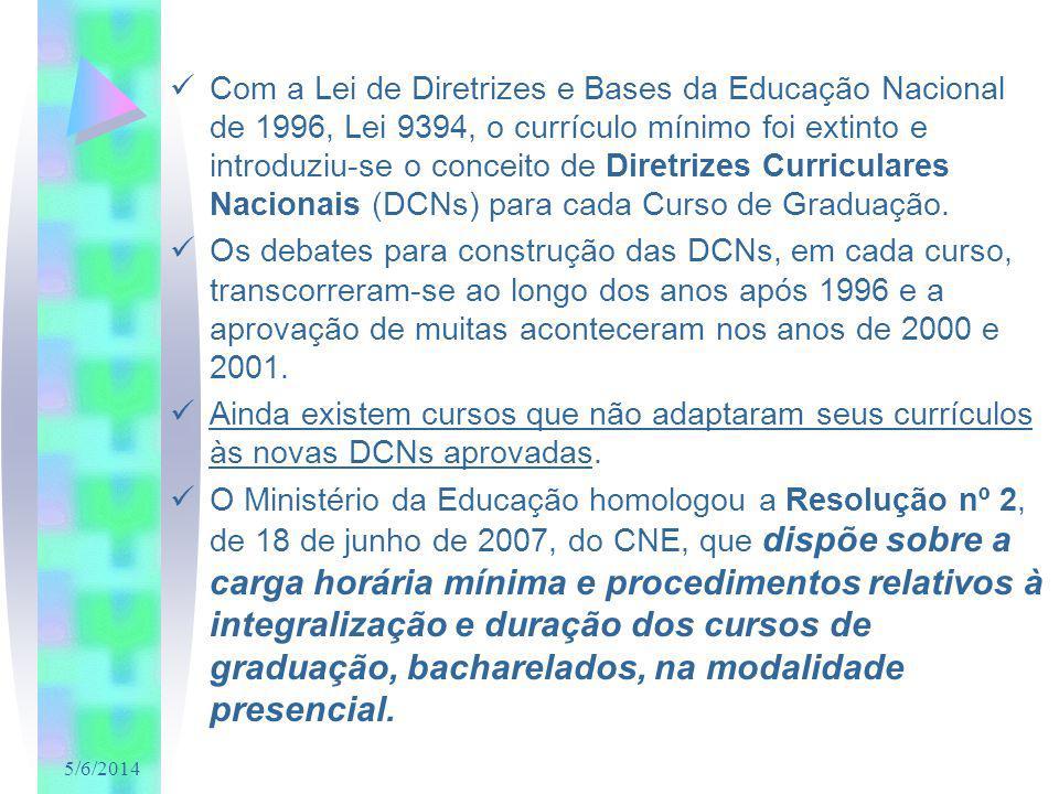5/6/2014 Com a Lei de Diretrizes e Bases da Educação Nacional de 1996, Lei 9394, o currículo mínimo foi extinto e introduziu-se o conceito de Diretrizes Curriculares Nacionais (DCNs) para cada Curso de Graduação.