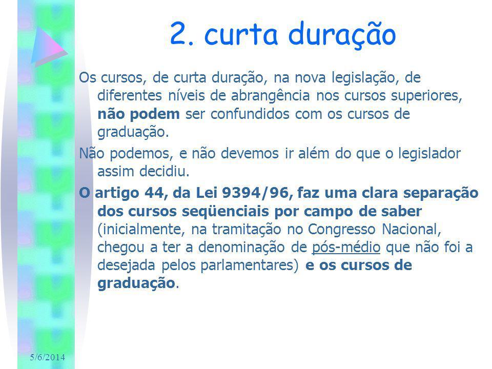 5/6/2014 2. curta duração Os cursos, de curta duração, na nova legislação, de diferentes níveis de abrangência nos cursos superiores, não podem ser co