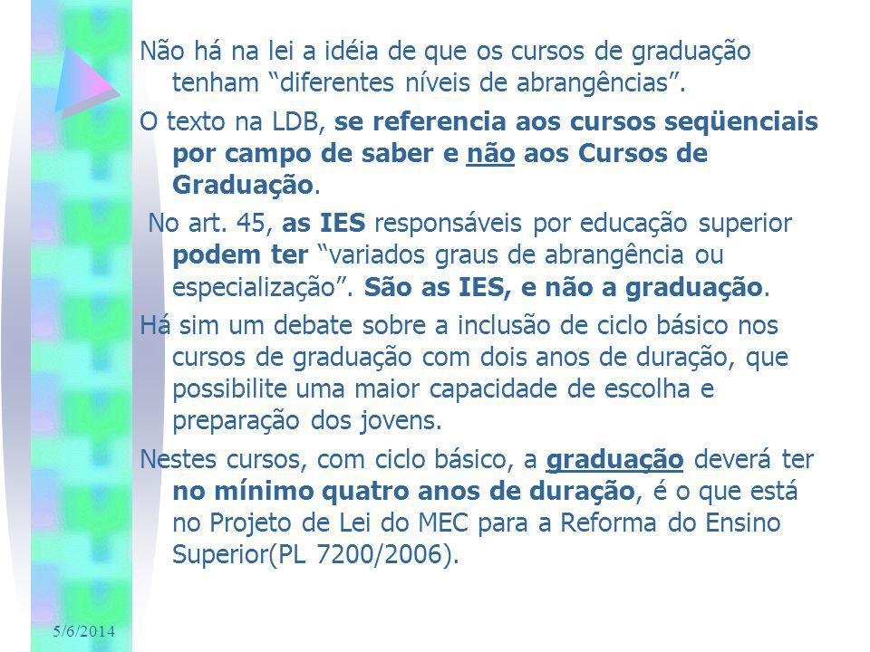 5/6/2014 Não há na lei a idéia de que os cursos de graduação tenham diferentes níveis de abrangências. O texto na LDB, se referencia aos cursos seqüen