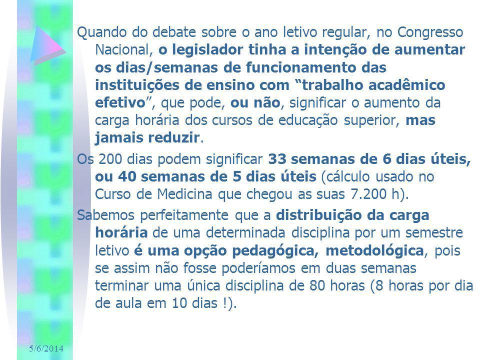 5/6/2014 Não quis o legislador determinar carga horária mínima anual nos cursos de educação superior, como o fez para a Educação Básica que está definida com 800 horas (inciso I art.