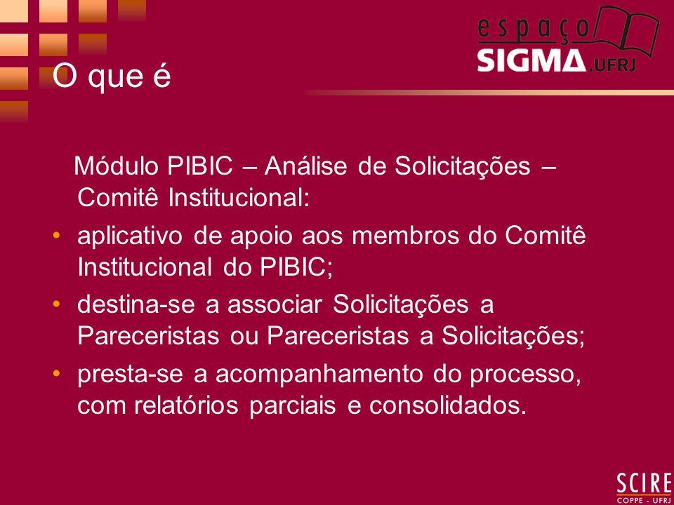O que é Módulo PIBIC – Análise de Solicitações – Comitê Institucional: aplicativo de apoio aos membros do Comitê Institucional do PIBIC; destina-se a