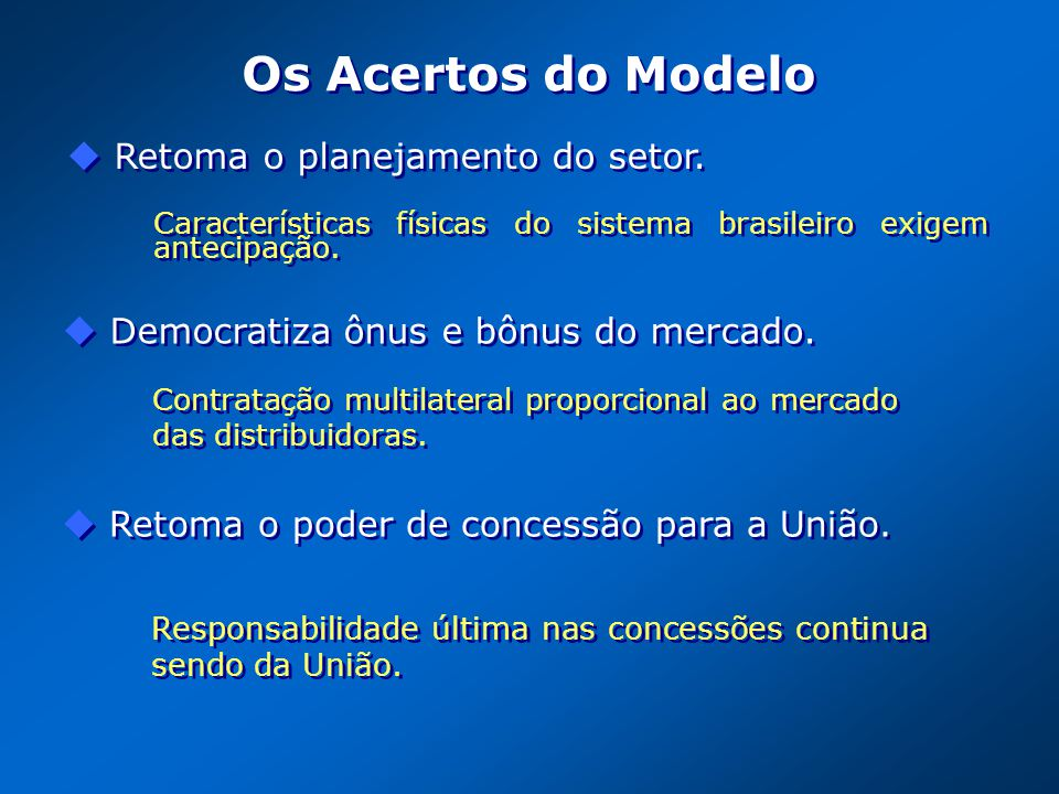 Os Acertos do Modelo Contratação multilateral proporcional ao mercado das distribuidoras. Democratiza ônus e bônus do mercado. Características físicas