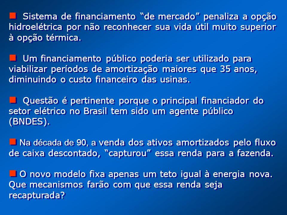 Sistema de financiamento de mercado penaliza a opção hidroelétrica por não reconhecer sua vida útil muito superior à opção térmica. Um financiamento p