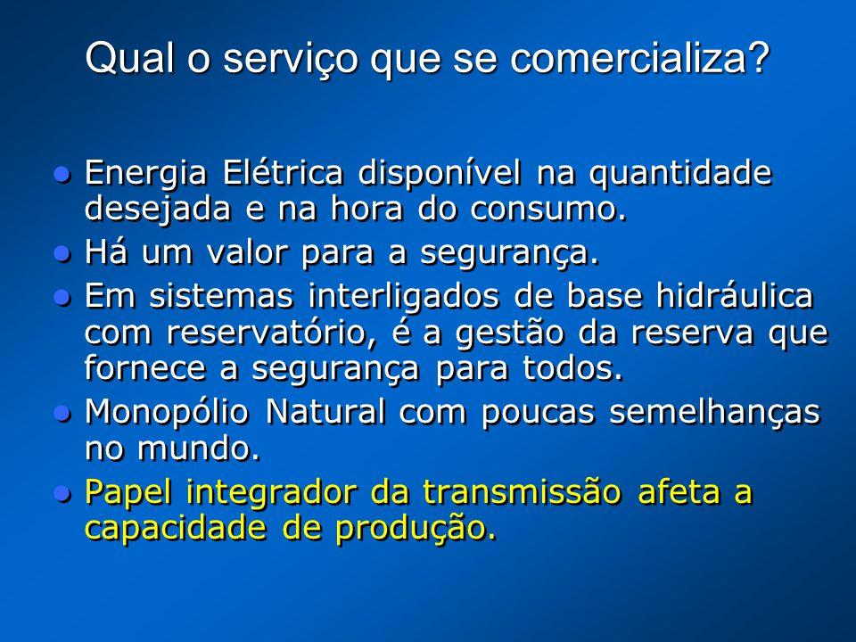 Qual o serviço que se comercializa? Energia Elétrica disponível na quantidade desejada e na hora do consumo. Há um valor para a segurança. Em sistemas
