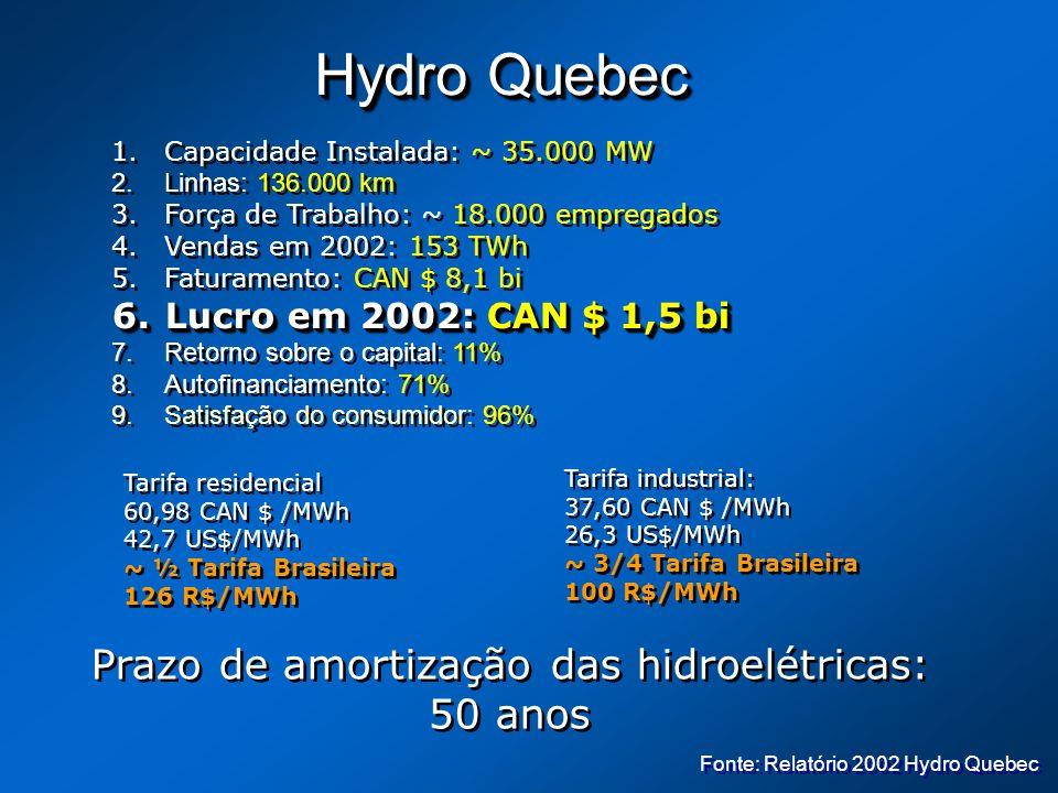 Hydro Quebec 1.Capacidade Instalada: ~ 35.000 MW 2.Linhas: 136.000 km 3.Força de Trabalho: ~ 18.000 empregados 4.Vendas em 2002: 153 TWh 5.Faturamento