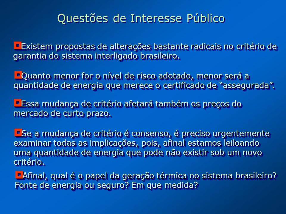 Existem propostas de alterações bastante radicais no critério de garantia do sistema interligado brasileiro. Existem propostas de alterações bastante