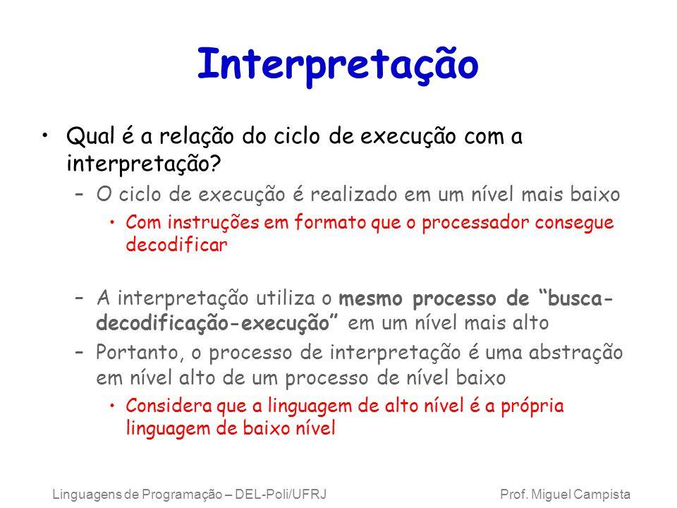 Linguagens de Programação – DEL-Poli/UFRJ Prof. Miguel Campista Interpretação Qual é a relação do ciclo de execução com a interpretação? –O ciclo de e