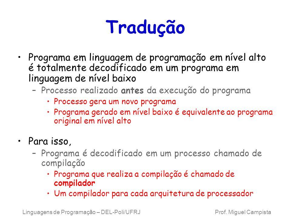 Linguagens de Programação – DEL-Poli/UFRJ Prof. Miguel Campista Tradução Programa em linguagem de programação em nível alto é totalmente decodificado