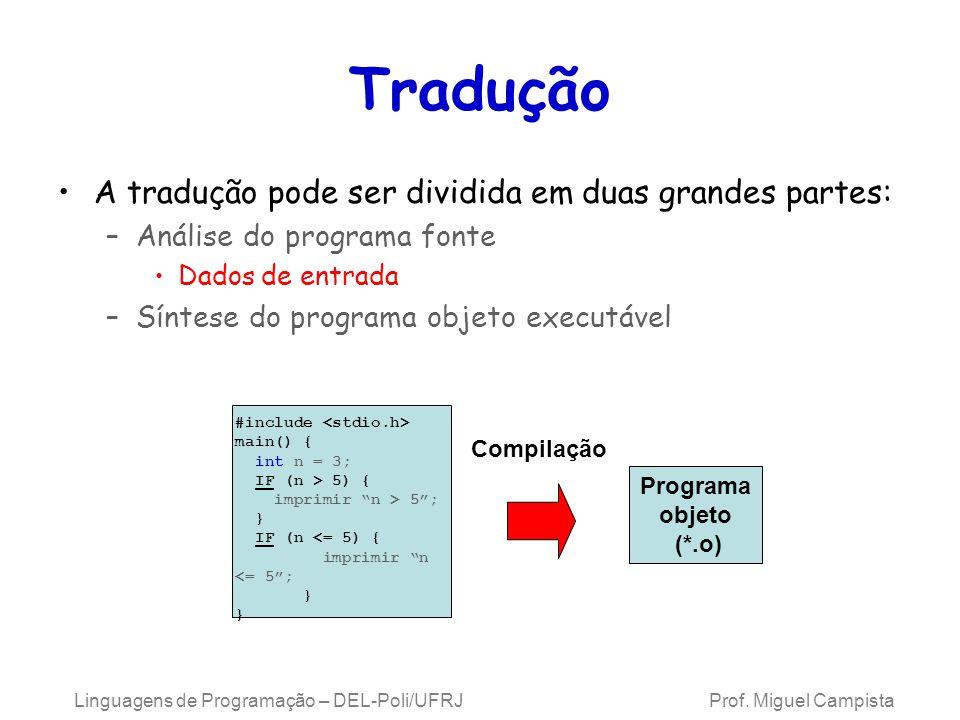 Linguagens de Programação – DEL-Poli/UFRJ Prof. Miguel Campista Tradução A tradução pode ser dividida em duas grandes partes: –Análise do programa fon