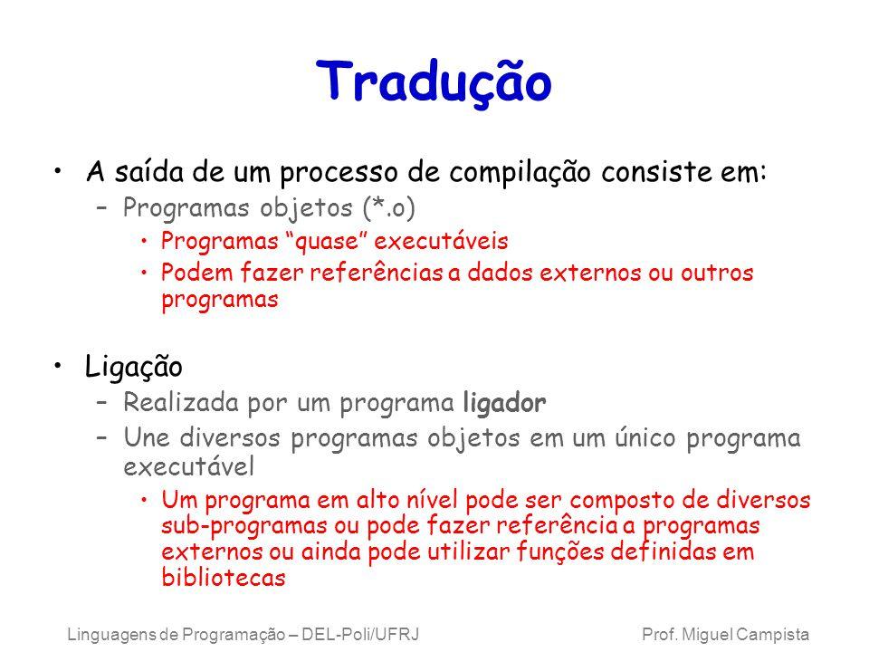 Linguagens de Programação – DEL-Poli/UFRJ Prof. Miguel Campista Tradução A saída de um processo de compilação consiste em: –Programas objetos (*.o) Pr