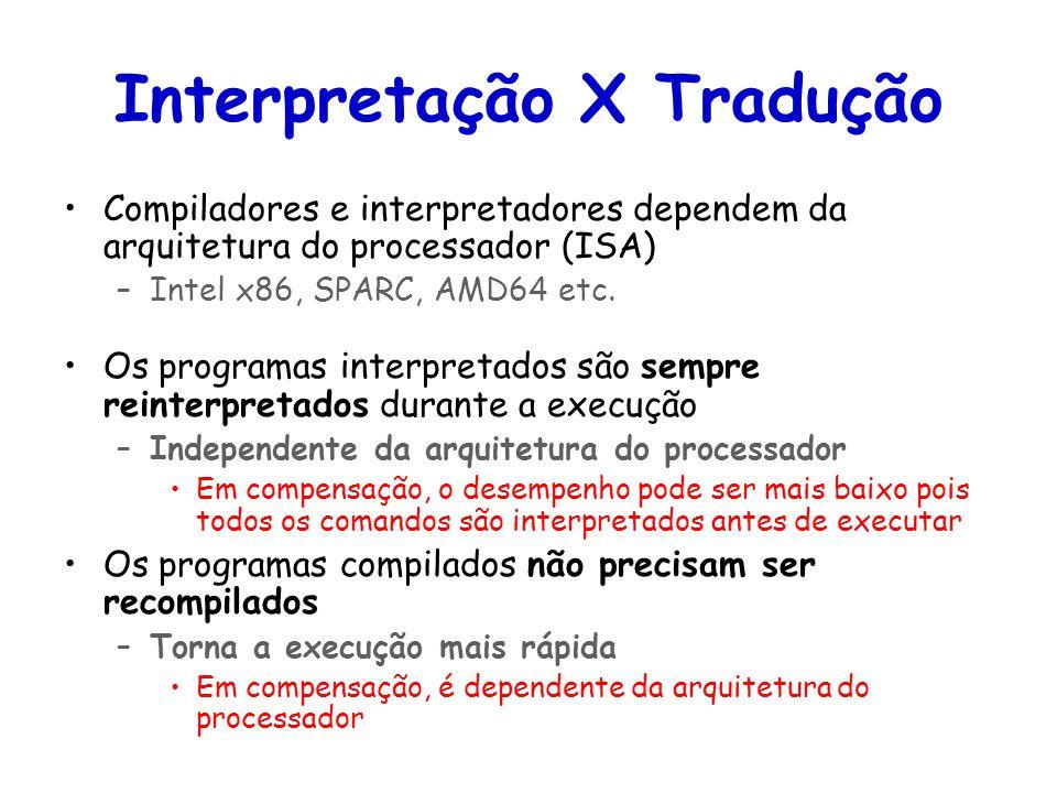 Linguagens de Programação – DEL-Poli/UFRJ Prof. Miguel Campista Interpretação X Tradução Compiladores e interpretadores dependem da arquitetura do pro