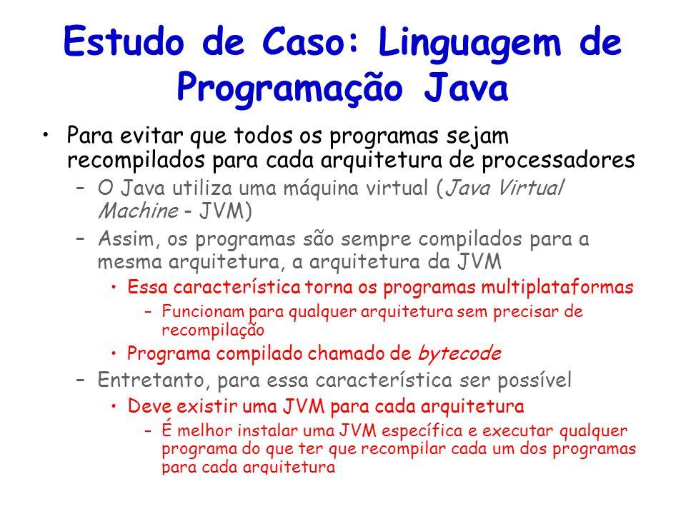 Linguagens de Programação – DEL-Poli/UFRJ Prof. Miguel Campista Estudo de Caso: Linguagem de Programação Java Para evitar que todos os programas sejam