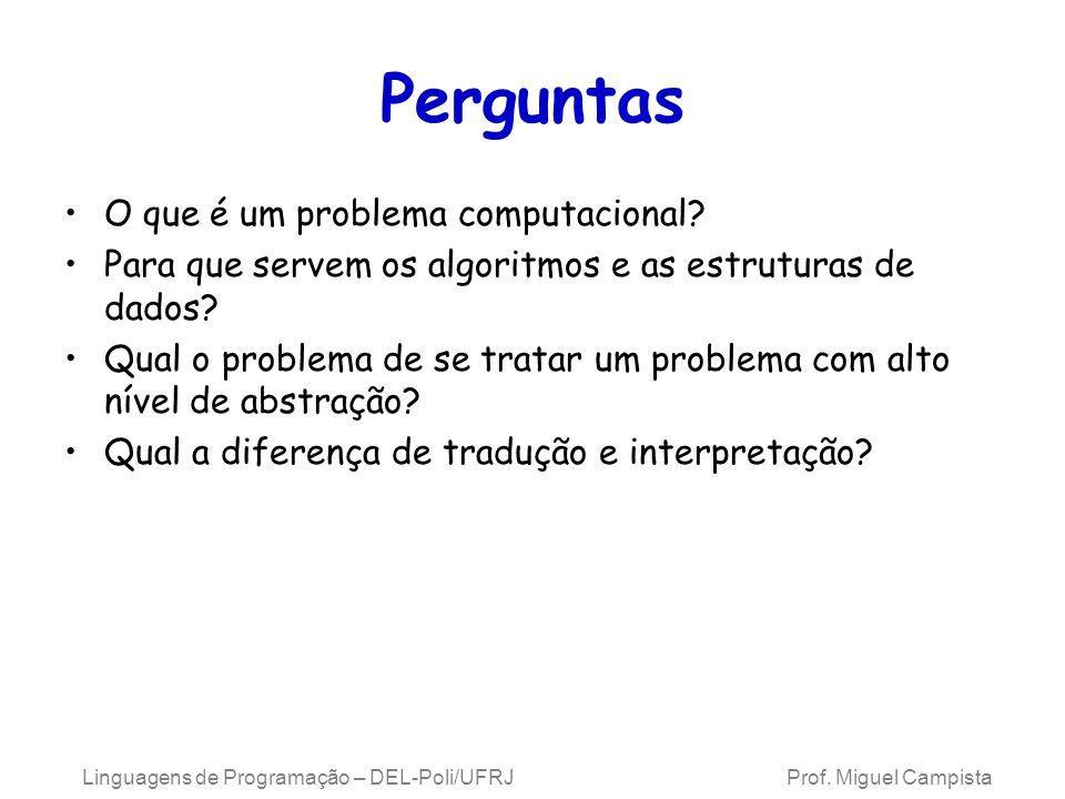 Linguagens de Programação – DEL-Poli/UFRJ Prof. Miguel Campista Perguntas O que é um problema computacional? Para que servem os algoritmos e as estrut