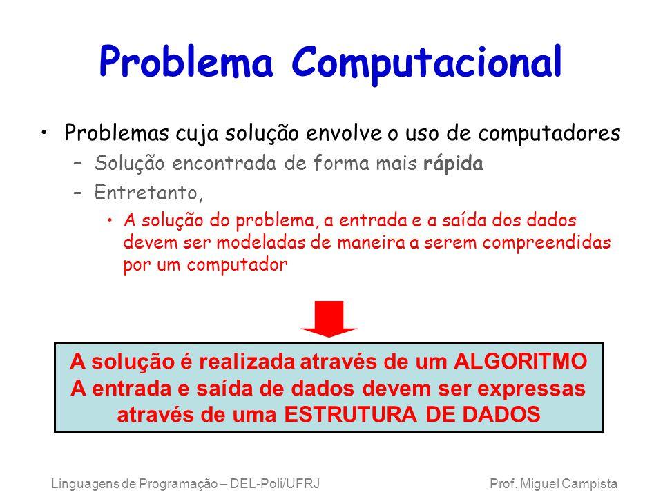 Linguagens de Programação – DEL-Poli/UFRJ Prof. Miguel Campista Problema Computacional Problemas cuja solução envolve o uso de computadores –Solução e
