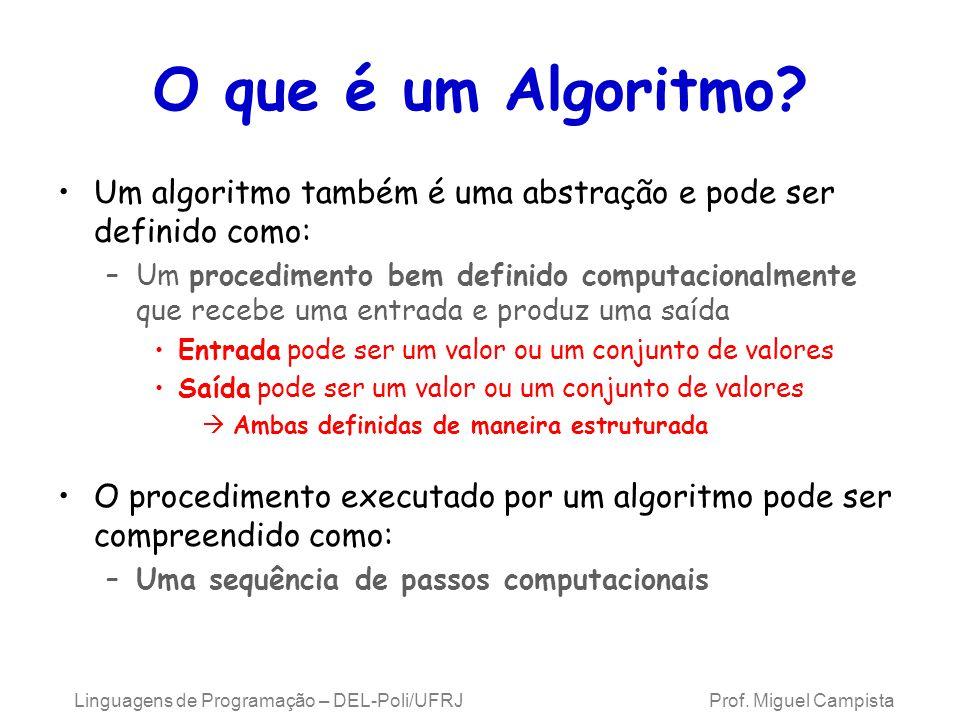Linguagens de Programação – DEL-Poli/UFRJ Prof. Miguel Campista O que é um Algoritmo? Um algoritmo também é uma abstração e pode ser definido como: –U